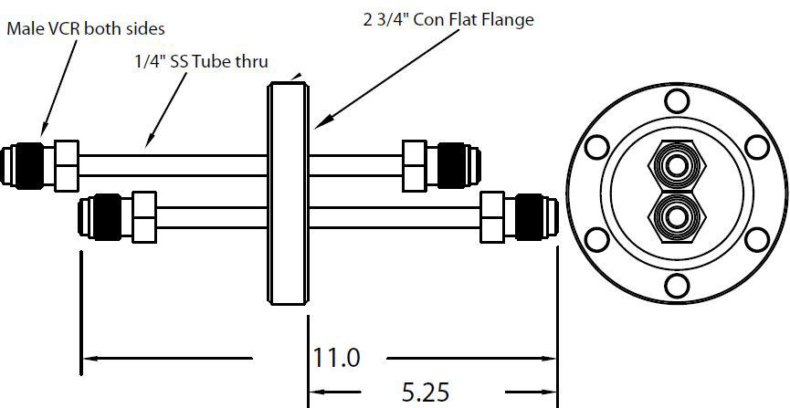 DN40CF feedthrough with dual tubes and 1/4