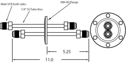 """DN40KF feedthrough with dual tubes and 1/4"""" male VCR fittings on both sides"""