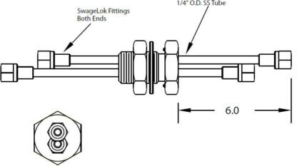 """1 inch baseplate feedthrough with dual tube and 1/4"""" Swagelok fittings on both sides"""