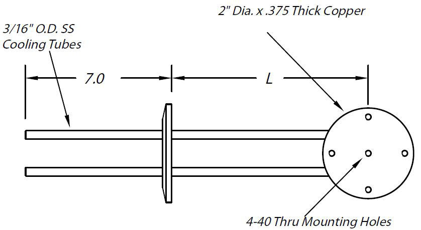 DN40KF feedthrough with 2 cooling lines with Copper cooling Block