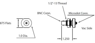"1/2"" baseplate feedthrough with Microdot to BNC connector. short version"
