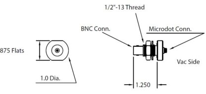 """1/2"""" baseplate feedthrough with Microdot to BNC connector. short version"""