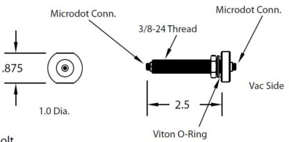 """3/8"""" baseplate feedthrough with Microdot to Microdot connector"""