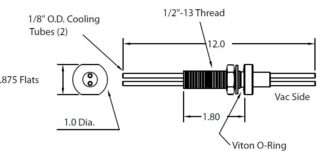 """1/2"""" baseplate feedthrough with 2 cooling tubes 1/8"""" OD,"""