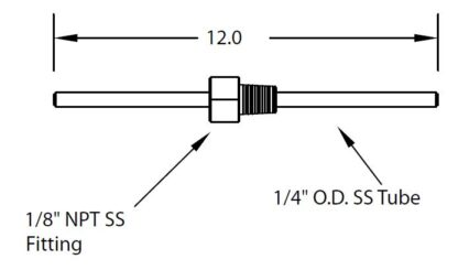 """1/8"""" NPT fitting with tube 1/4"""" OD,"""