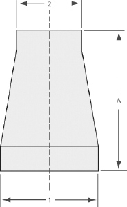 """Conical reducer tube 4"""" to 1,1/2"""", tumbled finish"""