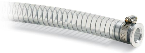 PVC hose 500mm, Nickel plated Brass DN25KF flange