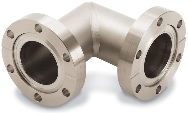 90º mitered elbow fixed flanges, DN19CF, stainless steel 316L