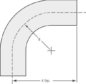 "90º radius elbow with tangents tube 3/4"", tumbled finish"