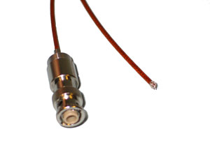 "MHV UHV connector with non-terminated Kapton insulated 19"" wire"