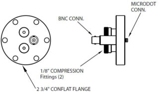 "1 MicroDot to BNC connector and 2 Cajon compress. fitt. (2/8""), DN40CF"