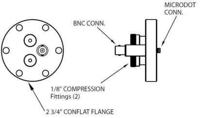 """1 MicroDot to BNC connector and 2 Cajon compress. fitt. (2/8""""), DN40CF"""