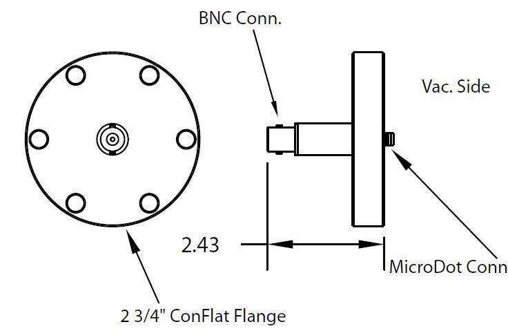 1 MicroDot to BNC connector, DN40CF