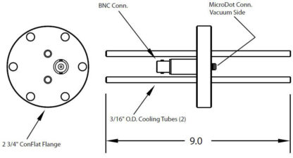"1 MicroDot to BNC connector and 2 cooling tubes (3/16"" OD), DN40CF"