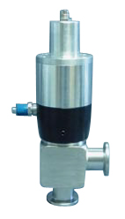 Pneumatic operated normally open angle valve, DN40CF, including position indicator and solenoid