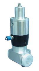 Pneumatic operated normally closed Aluminum in-line valve, DN16KF, including position indicator and solenoid