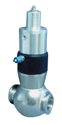 Pneumatic operated normally open in-line valve, DN40KF, including position indicator and solenoid