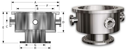 """Base well 18"""" with 8 off DN40CF flanges and DN200ISO-F flange"""