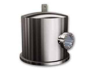 "Stainless Steel bell jar with single viewport, lifting lug, and heater. diameter 12"" height 12"""