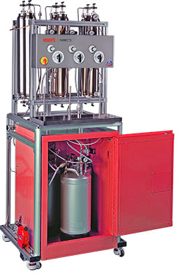 Solvent purification system for three solvents with frame & column assembly. Flammable cabinet sold seperately.