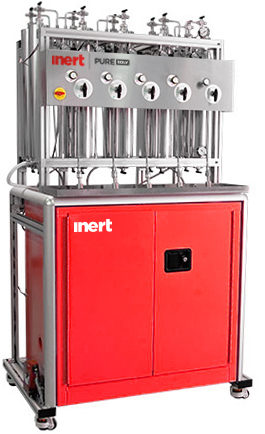 Solvent purification system for five solvents with frame & column assembly. Flammable cabinet sold seperately.