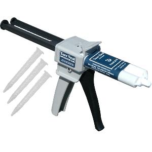 Torr seal low vapor pressure resin sealant cartridge with gun & 3 mixer tubes.