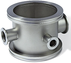 Vacuum chamber DN63ISO-K with 1x DN16KF, 1x DN25KF and 1x DN40KF, stainless steel 316L