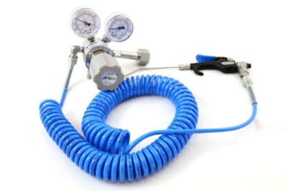 Heli-Jet spray gun and regulator, with 150mm long nozzle and polyurethane spiral tube 1 - 4 meter