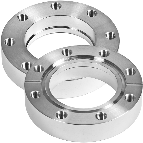 Bored flange non-rotatable with bore 18mm, DN19CF, 6 bolt holes, stainless steel 316L
