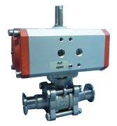 Pneumatic operated ball valve DN25KF, with position indicator, with solenoid