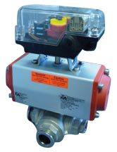 Pneumatic operated 3-way ball valve DN25KF, with position indicator, without solenoid