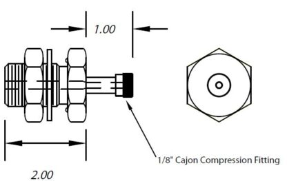"""1 inch baseplate feedthrough with 1/8"""" Cajon compression fittings on one side"""