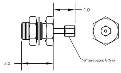 """1 inch baseplate feedthrough with 1/8"""" Swagelok fittings on one side"""