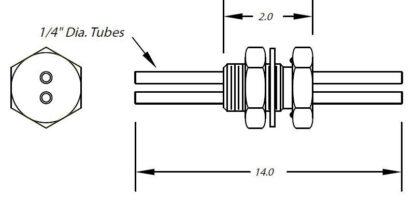 "1 inch baseplate feedthrough dual tubes 1/4"" diameter (no fittings)"