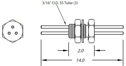 "1 inch baseplate feedthrough three tubes 3/16"" diameter (no fittings)"