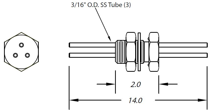 1 inch baseplate feedthrough three tubes 3/16