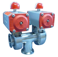 Pneumatic operated 3-way butterfly valve DN25KF, with position indicator, without solenoid