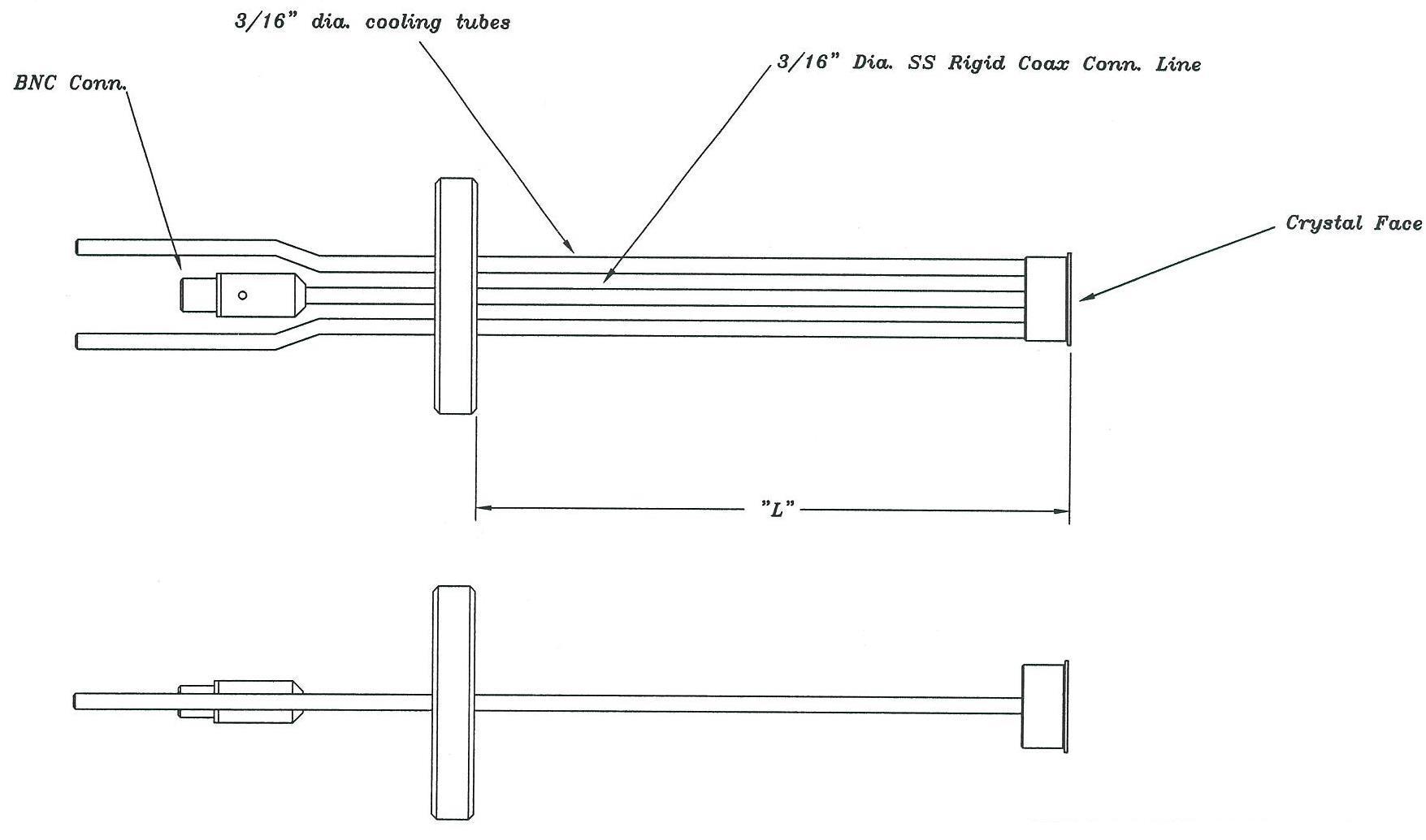 Feedthrough and high temperature right angle single Quartz Crystal sensor, DN40CF