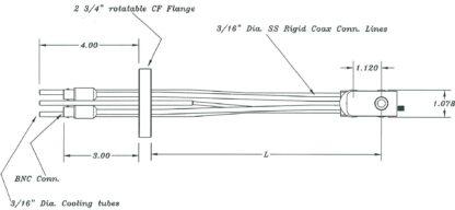 Feedthrough and high temperature dual Quartz Crystal sensor, DN40CF