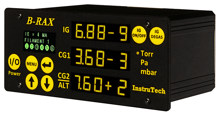 Vacuum controller to 10 e-9 mBar for IGM400 hot cathode or CCM500 cold cathode gauge and 2 Convection gauges