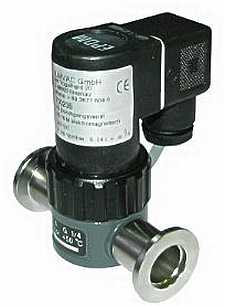 Electromagnetic operated straight-through valve, Viton sealed, DN25KF flange, 24VDC