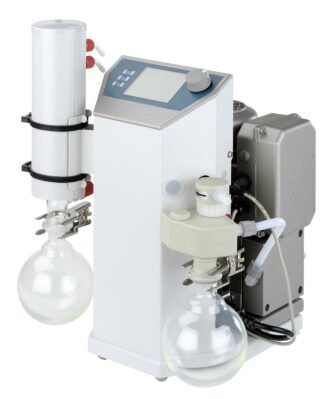 Rotavap vacuum system for solvent distillation and evaporation. Vacuum controlled by opening/closing the valve