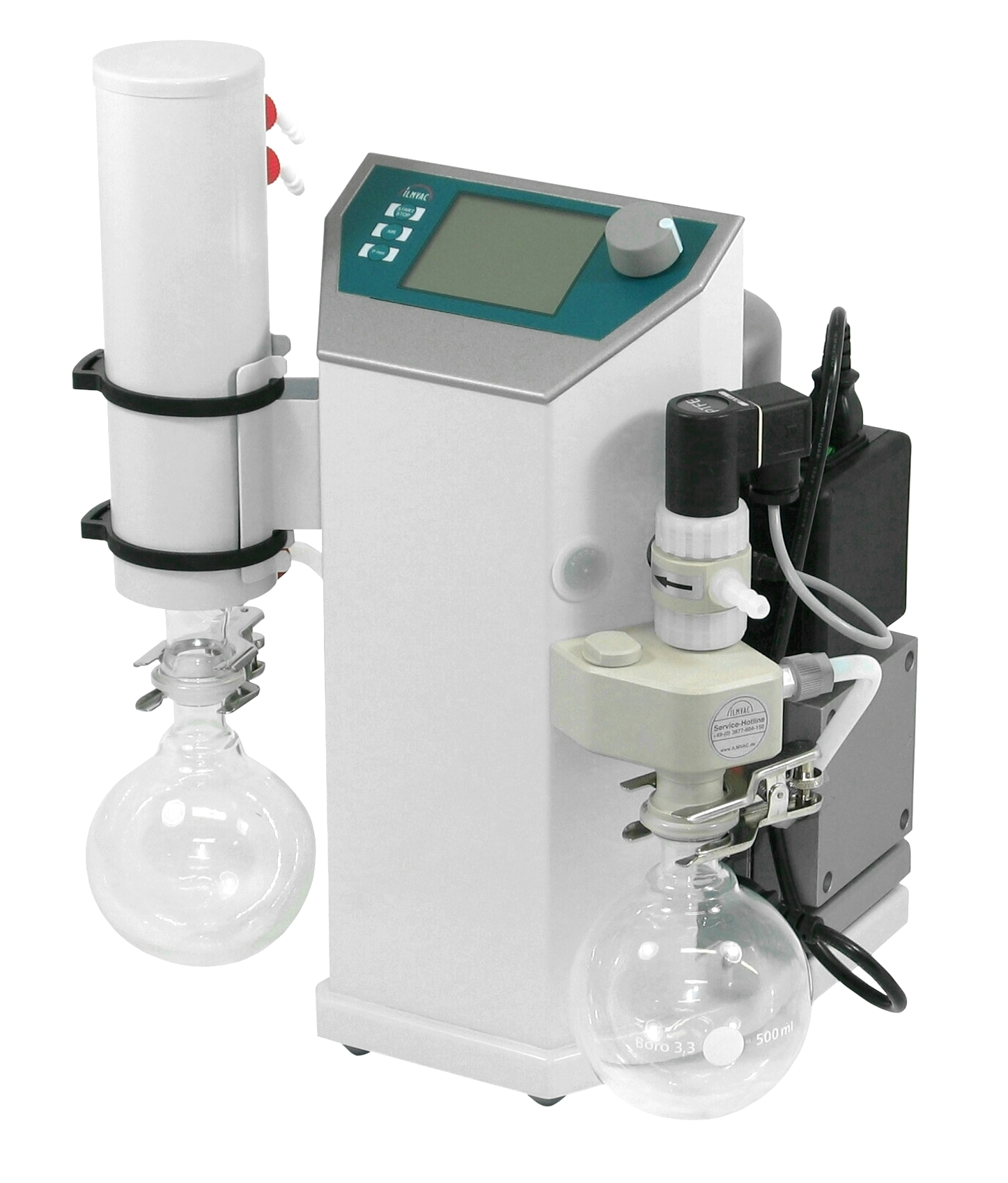 Rotavap vacuum system for solvent distillation and evaporation. Vacuum controlled by varying the speed of the pump