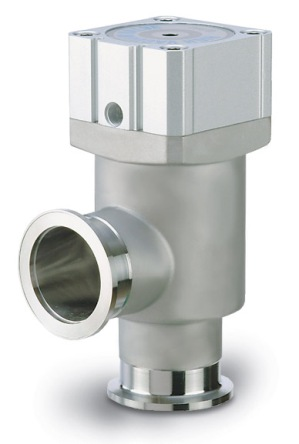 Pneumatic operated, bellow sealed angle valve, single acting, 24VDC solenoid, DN16KF