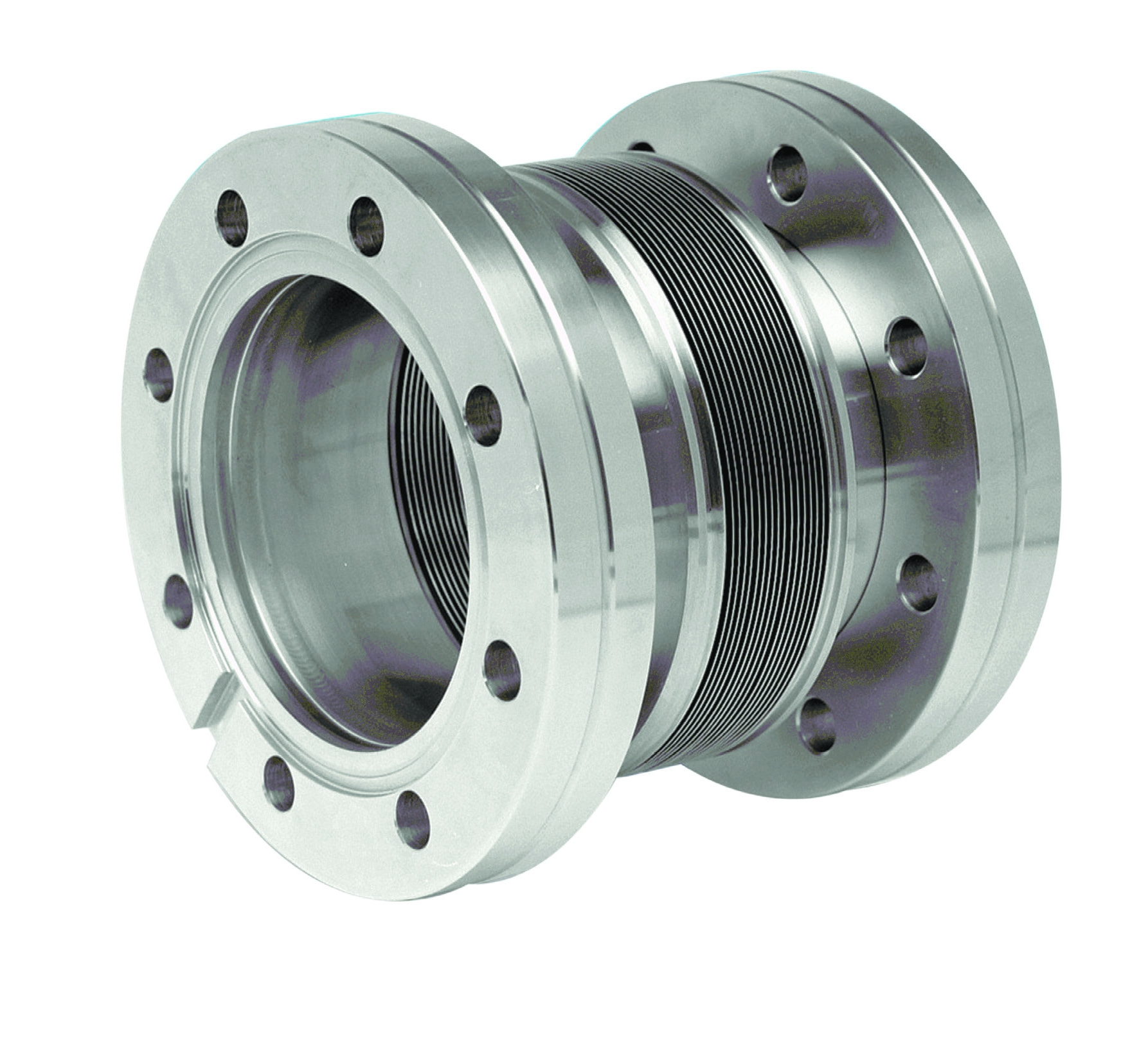 Edge welded bellow with DN100CF flanges, L = 90 - 140mm