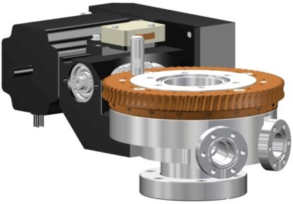 Differentially pumped rotary seal 360º rotation. Stepper motor operated. DN40CF flange with tapped flanges