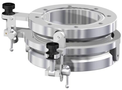 XY tilt device for +/- 5º angle adjustment. DN150CF tapped flanges