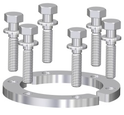 DN40CF half moon bolt ring including silver plated M6 bolts