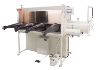 I-Lab 4 Glovebox including large and small antechamber right hand side. Including O2 and H2O analyzers