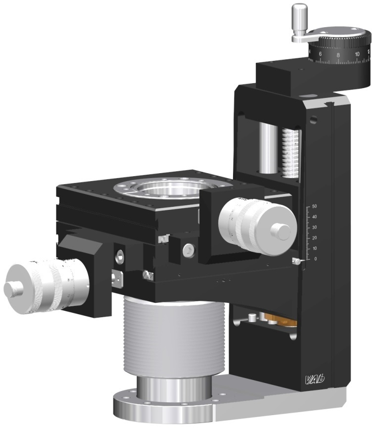 Manual operated 600mm Z-manipulator with +/- 12,5mm X & Y translation. DN63CF mounting and travelling flange